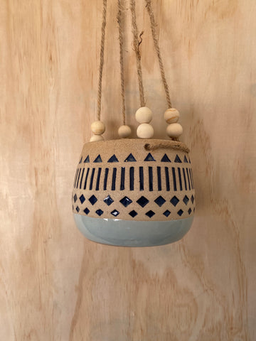 Kyra Navy Hanging Planter