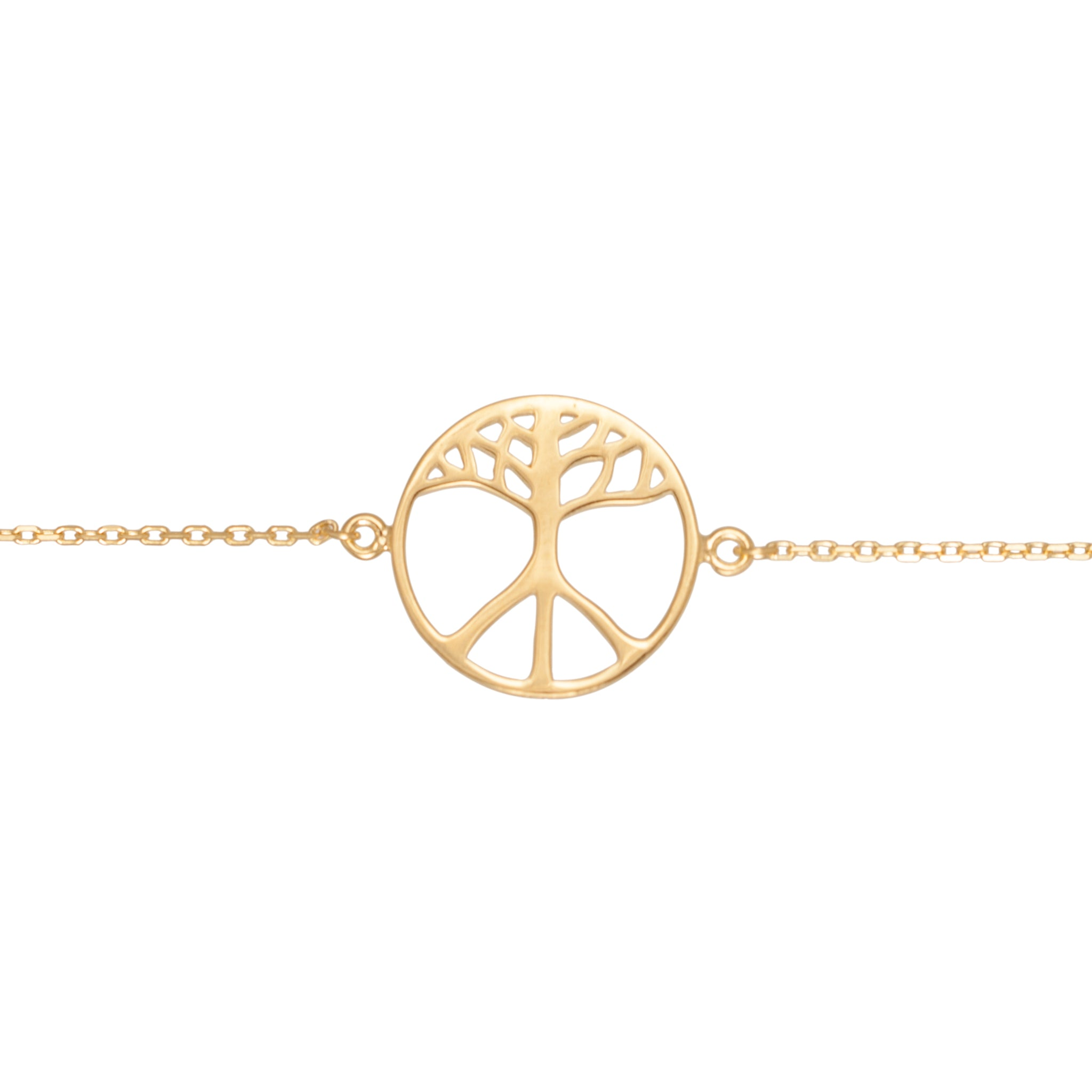 BON HOPE - One Earth Gold Bracelet. The symbol is a merge of the tree of life and the classic peace symbol. 100% recycled silver jewelry ethically made in Bali.