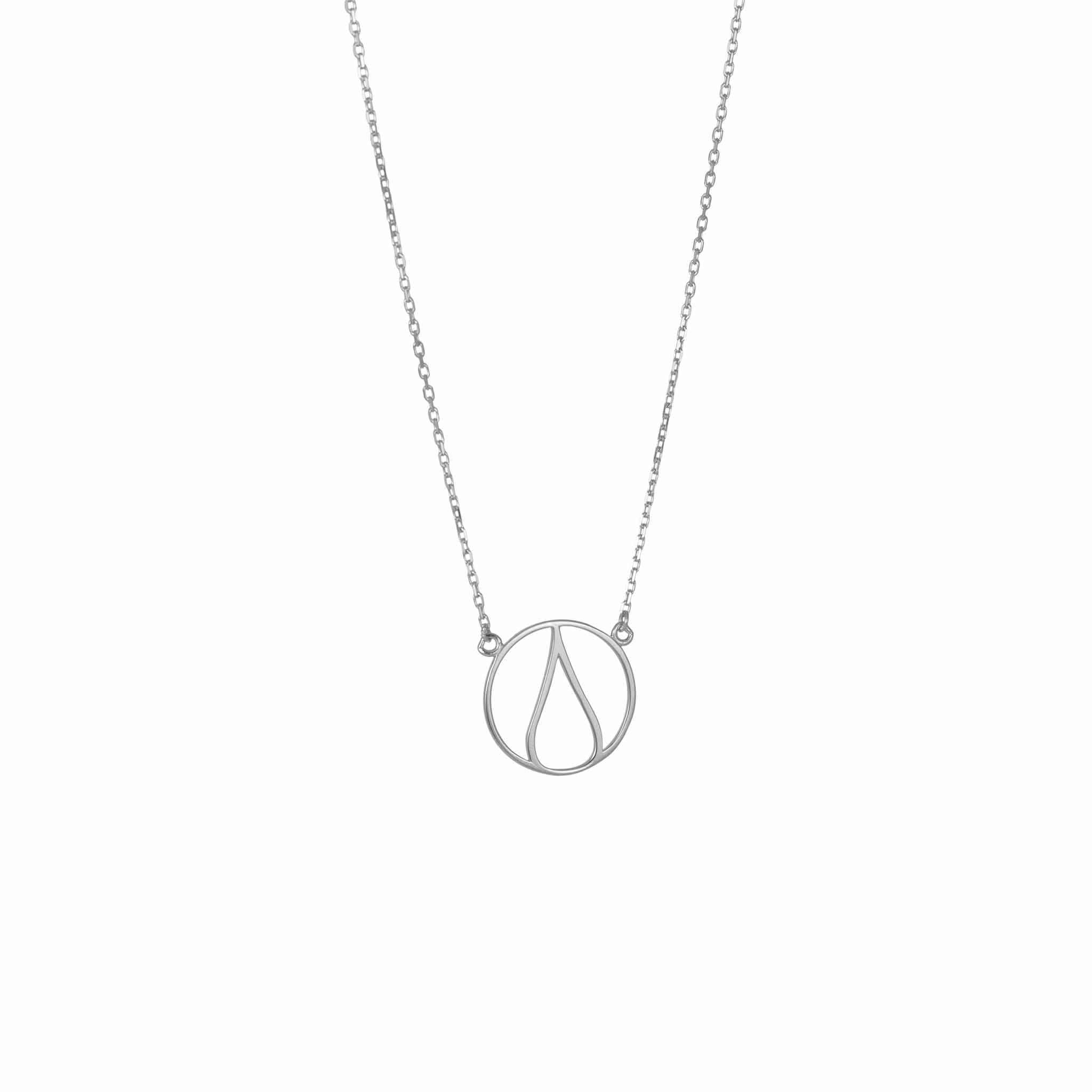 One Ocean Silver Necklace. The symbol is a water drop in a circle that symbolizes our earth. 100% recycled silver jewelry ethically made in Bali.