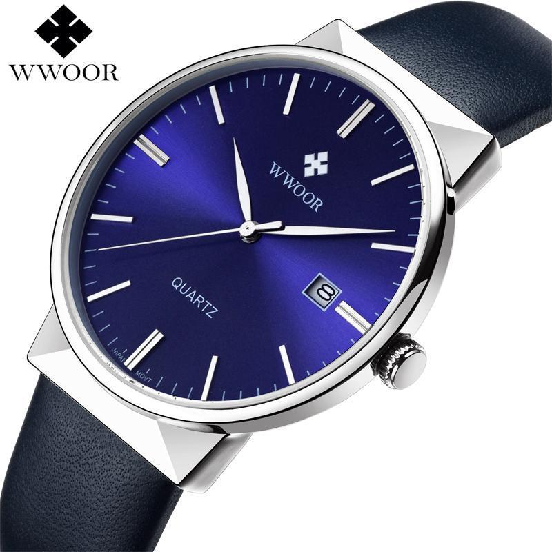 six fashion royal quartz watch belt pin male leather three blue watches