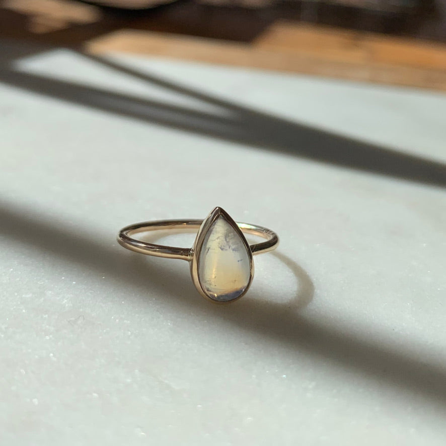 Gold Pear Shape Moonstone Ring