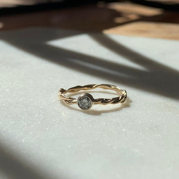 Twisted Gray Diamond Ring