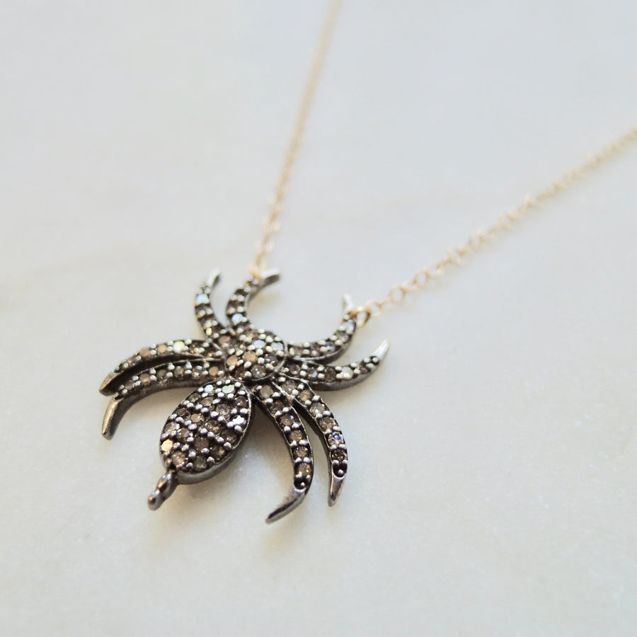 Brown Diamond Spider Necklace