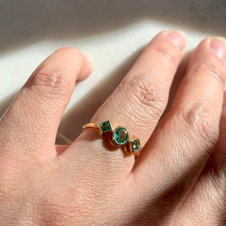 Three Emerald Ring