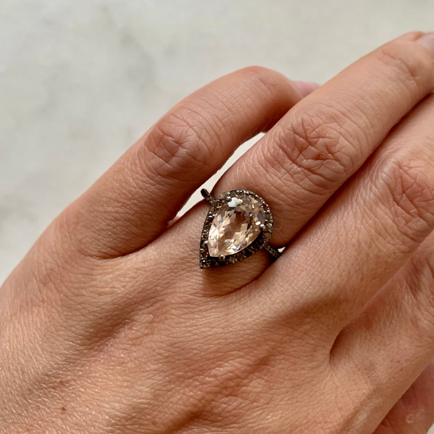 Morganite and Brown Diamond Ring