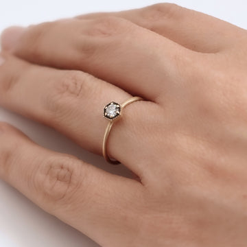 Hexagon Diamond Ring