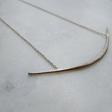 Single Silver Curved Bar Necklace with Silver Chains