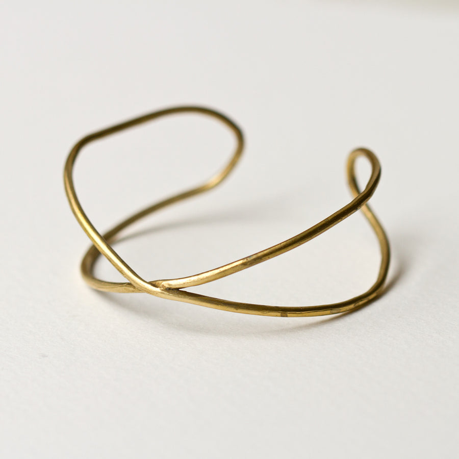 Brass Crossing Cuff Bracelet
