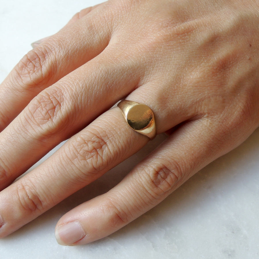 Round Face Signet Ring