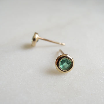 Bezel Set Emerald Earrings