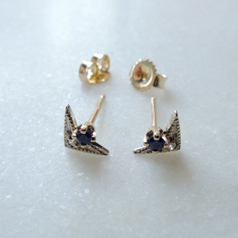 Sapphire and Diamond Winged Two Tone Earrings