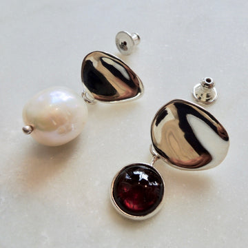 Mismatching Sina Drops with Garnet + Pearl Earrings