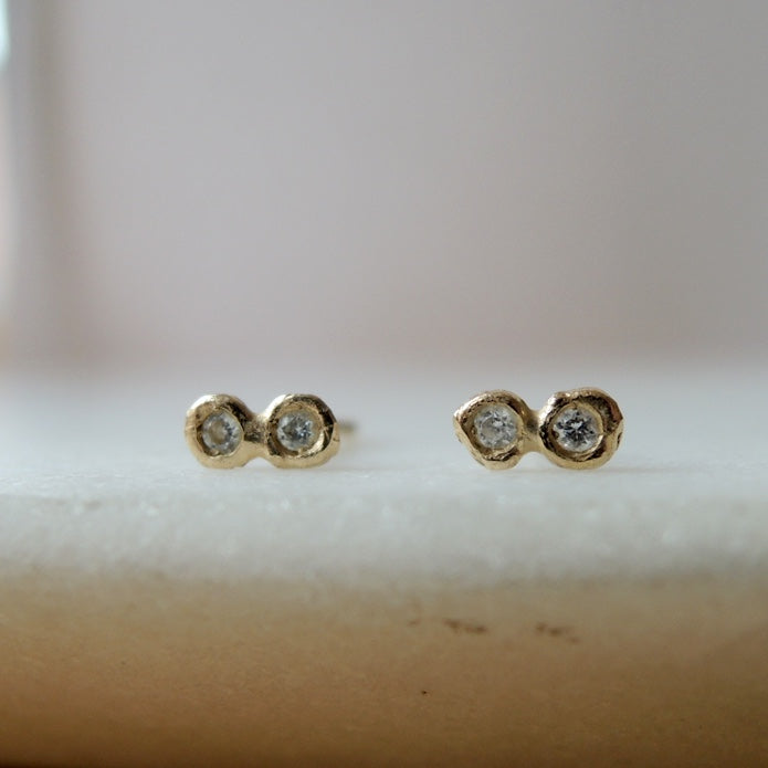 Diamond Twin Stud Earrings