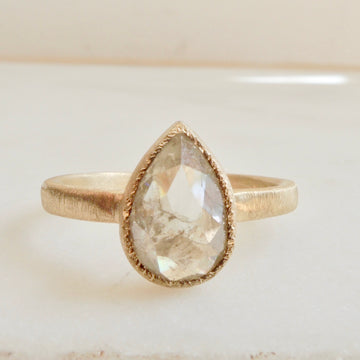 Pear Grey Diamond Ring