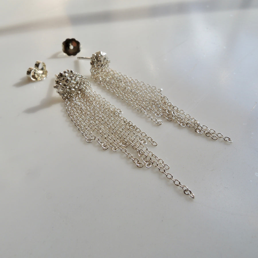 Waterfall Chain Earrings Silver