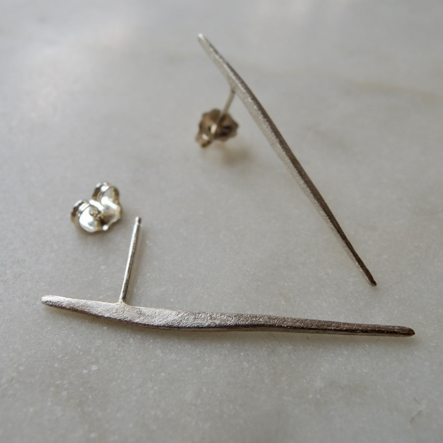 Silver Long Bar Stud Earrings