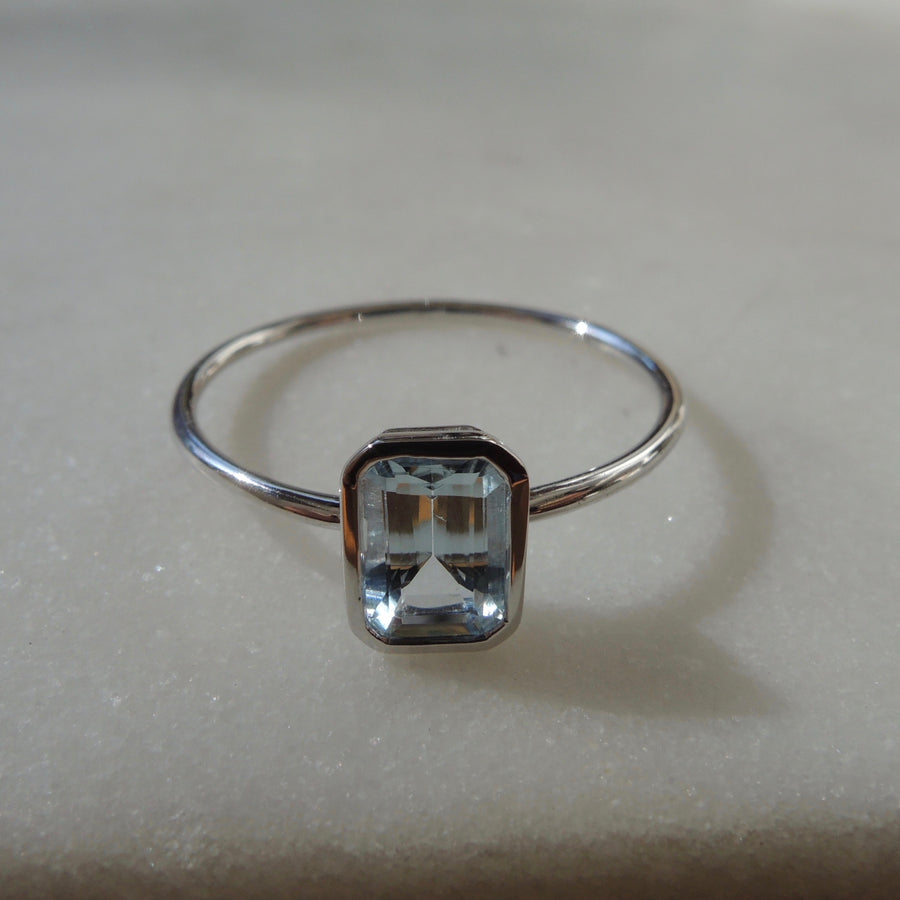 Blue Topaz Emerald-Cut Ring