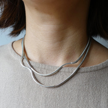 Silver Double Ripple Necklace