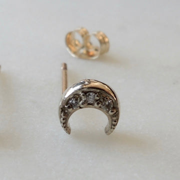 Crescent Diamond Earring