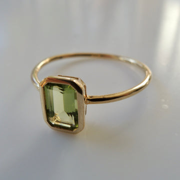 Peridot Emerald-Cut Ring