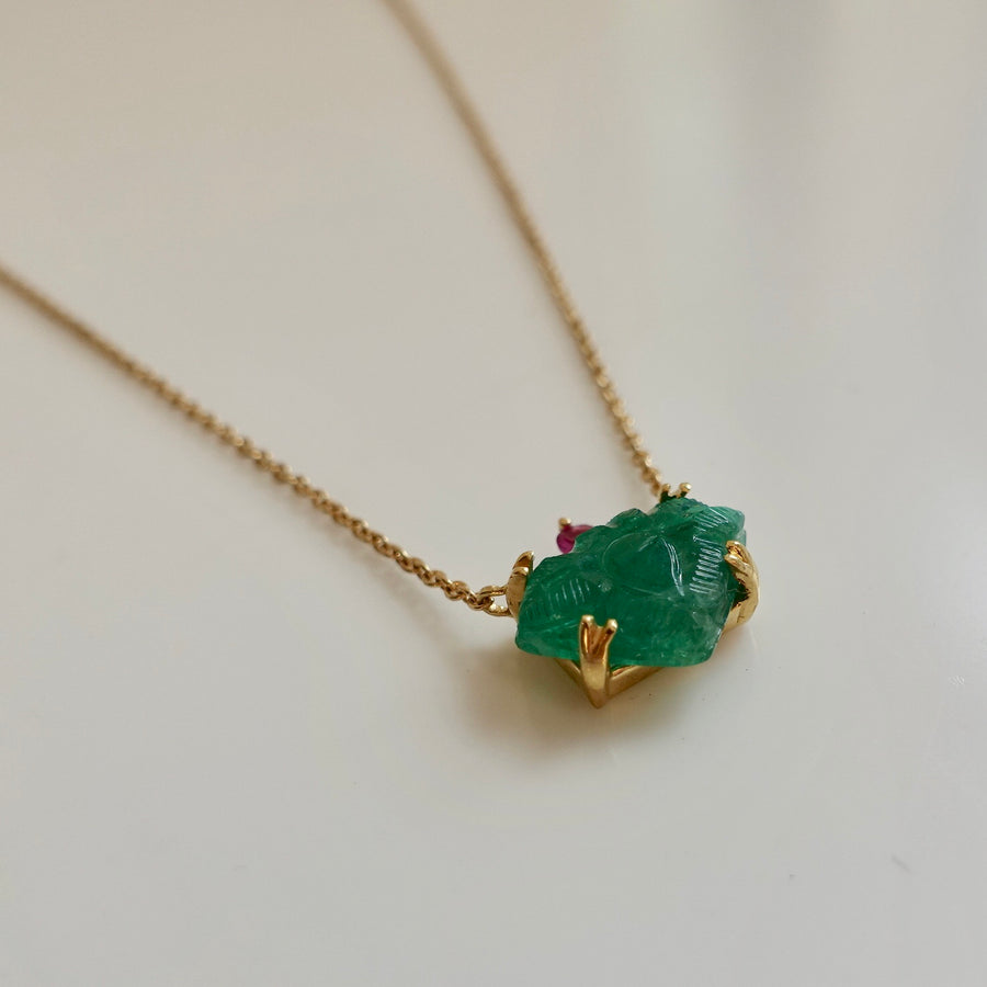 Hand Carved Emerald Necklace