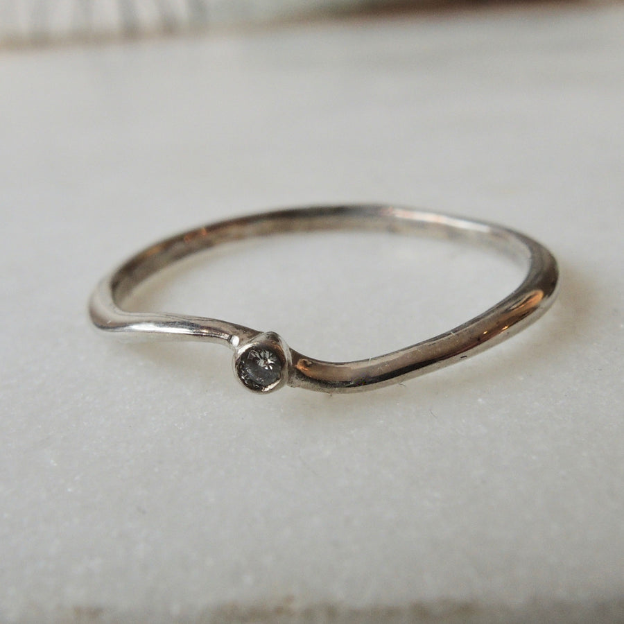Silver Wave Diamond Ring