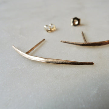 Curved Bar Gold Stud Earrings