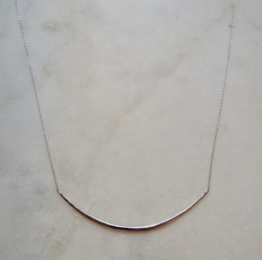 Long Bar Silver Necklace