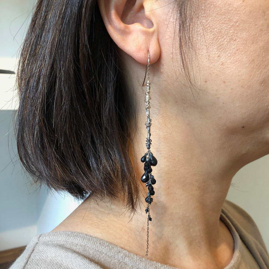 Decadent Long Earrings with Black Spinels