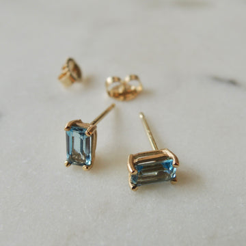 Octagon Aquamarine Earrings