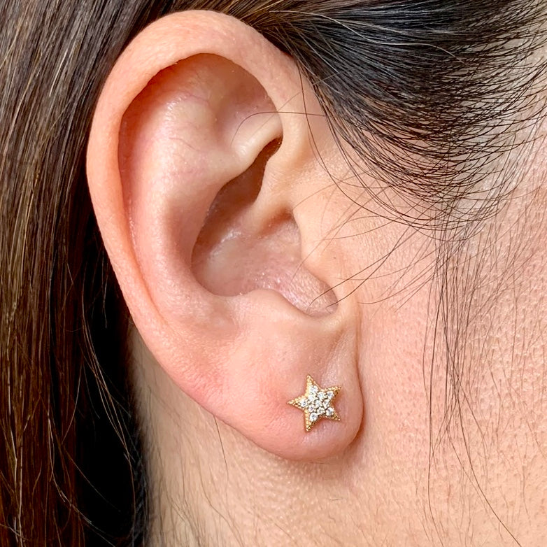 Pave Diamond Star Earrings