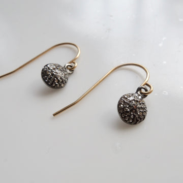 Pave Gray Diamond Dangling Earrings
