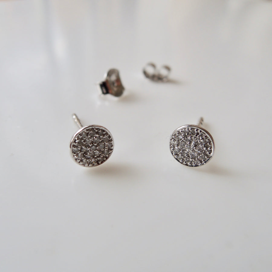 Mini Pave Diamond Stud Earrings