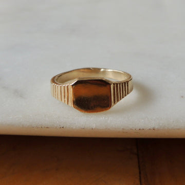 Step Pinky Signet Ring
