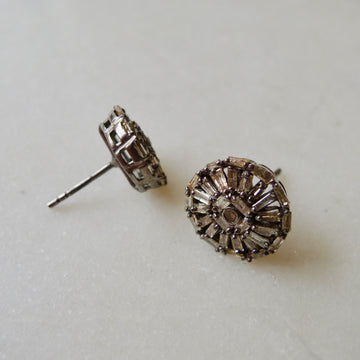 Mosaic Diamond Silver Earrings