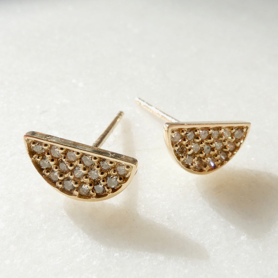 Semi-Circle Diamond Pave Earrings