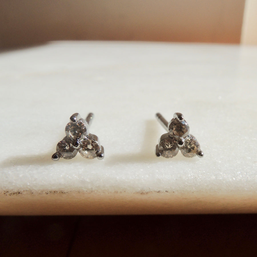 Three Diamond Stud Earrings