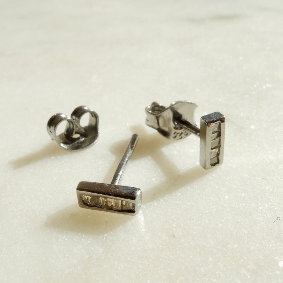 Channel Set Diamond Stud Earrings