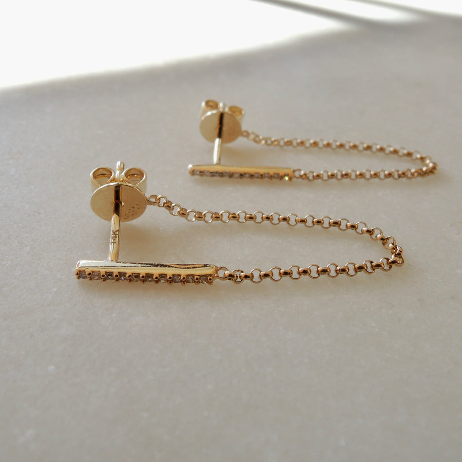 Chained Diamond Bar Earrings