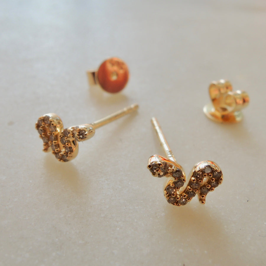 Mini Snake Diamond Earrings