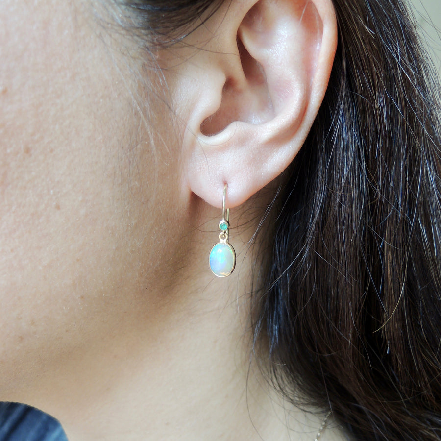 Opal and Emerald Drop Earrings