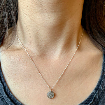 Grey Diamond Disc Silver Necklace