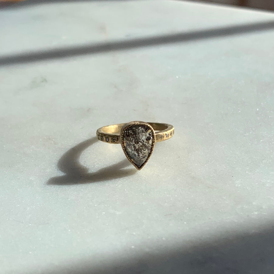 Pear Shape Dark Grey Diamond Ring