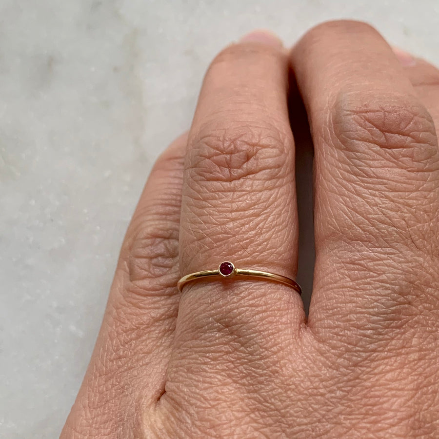 Bezeled Ruby Ring