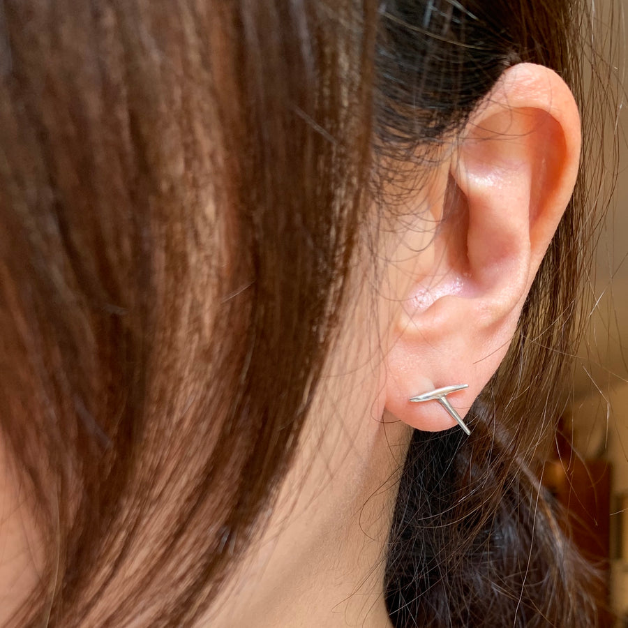 Free Form Silver Stud Earrings