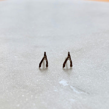 Silver Mini Stud Earrings / Wishbone