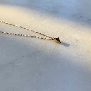 Polished Pyramid Gold Necklace