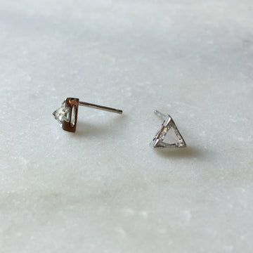 Triangle Cut Diamond Earrings