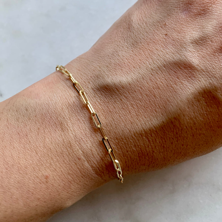 2.5 mm Gold Chain Link Bracelet
