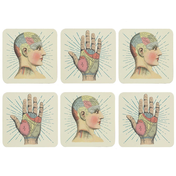 gemmas-curiosity-shop - Phrenology Palmistry Coasters - Gemma's Curiosity Shop - Coasters
